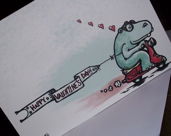 Happy Valentine's Day Hippo Scooter Card 5x7 Greeting Card by Agorables Rulers of the Romantic Gift Card