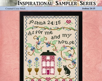 Counted Cross Stitch Pattern Inspirational Sampler Series Joshua 24:15