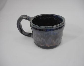 Blue and Purple Variegated Stoneware Ceramic Mug, Handmade Pottery, Hand Painted, Hand Thrown, Drinkware, Coffee, Tea, Cup, Gift (C0026)