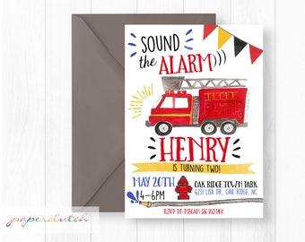 Firetruck Birthday Invitation | Sound the Alarm Fireman Party Red Fire Engine Invitation Fire Station Party Firefighter Birthday Invite