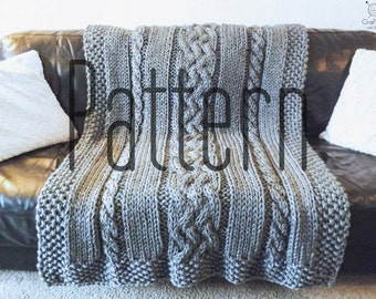 Knitting Pattern DIY - Knit Cable Blanket