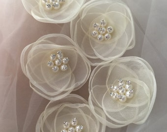 Champagne Organza Lace Applique with Rhinestone Beaded for Headband, Hair Flowers, Garters 4 pieces