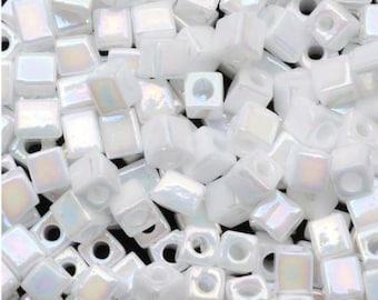 Miyuki 4mm Cube Glass Beads Opaque White AB 20 Grams
