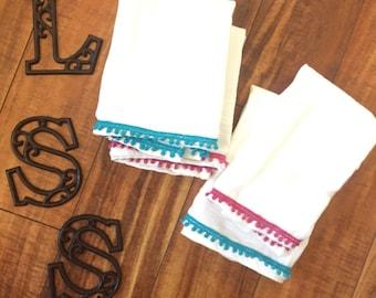 Embellished dish towel, decorative dish towel, tea towel, kitchen towel, flour sack towel