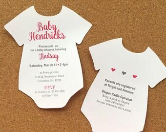 Baby Bodysuit Girl Shower Invitation, Girl Baby Shower Invitation, Pink and Gray Baby Shower Invitation, Baby romper Invitation,