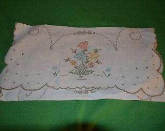 Vintage Dresser Scarf with  Embroidery of Flowers and Brown Edging
