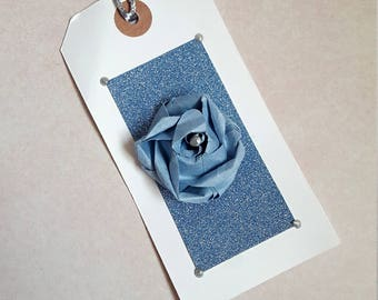 Flower Gift Tags / Set of 4 / Blue Glitter with Paper Rose