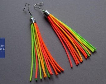 Statement earrings, Long earrings, Tassel earrings, Neon earrings, Colorful earrings, Fringe earrings, Bold earrings,Hypoallergenic earrings