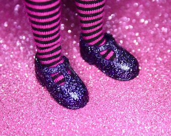 Blythe Deep Purple Glitter T-Strap Mary Jane shoes