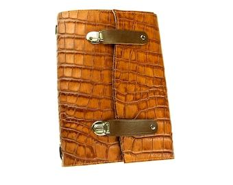 Midori Travelers Notebook A5 Size Brown Crocodile Leather Journal With  Metal Locks And Felt With Card