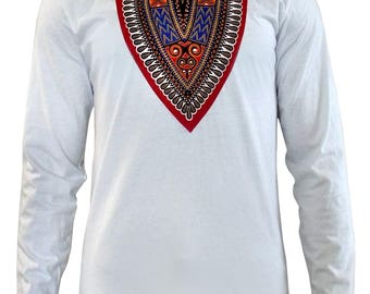New Thabo Men's African Print Dashiki Long Sleeve Shirt (White/Red/Blue)S-3XL