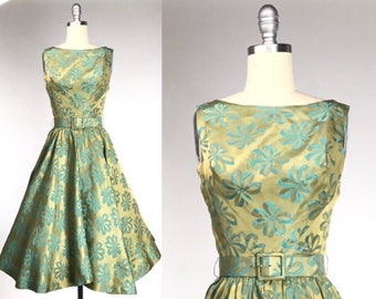 Vintage 1960s Damask Dress // Chartreuse 60s Bow Print Party Dress // Green and Yellow Novelty Print // Garden Party or Bridal Shower
