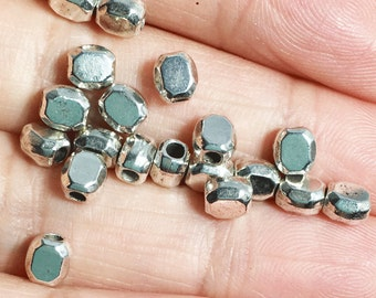 100 pcs silver plated smooth polygon spacer beads 5x4mm,  metal spacer beads