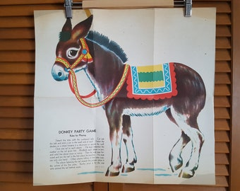 Vintage Pin The Tail On The Donkey Party Game