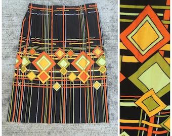 CLEARANCE - Mod 1960s orange black and lime diamond print polyester day skirt size medium