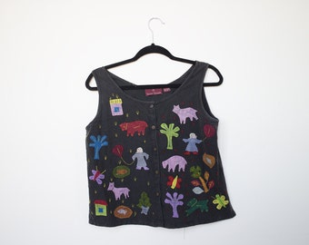 Vintage Cutout Cartoon Patch Vest