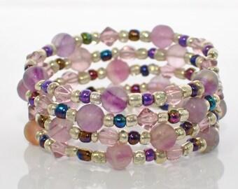 Purple Fluorite Wraparound Bracelet Cuff Purple Haze - Memory Wire Bracelet -Purple Bracelet -Beaded Bracelet - Boho Bracelet - Gift for Her