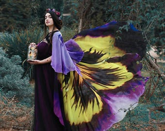 Flower cape floral cloak Pansy scarf shawl purple and yellow poncho convertible skirt