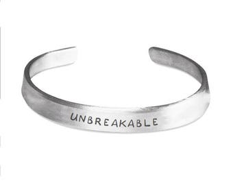 UNBREAKABLE - ID Bracelet - Inspirational - Strength Jewelry - Motivational Gifts - Stamped Metal Bangle - One Size Fits All