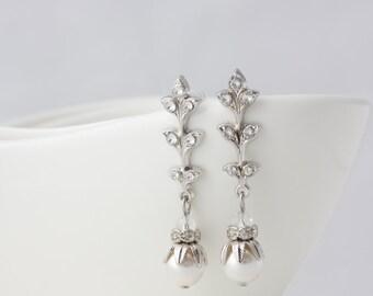 Art Deco Bridal Earrings Leaf Wedding Earrings Pearl Bridal Earrings Simple Vintage Wedding Jewelry NEVE