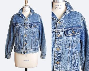 Vintage 80s Acid Wash GRUNGE JACKET / 1980s Lee Faded Denim Jacket