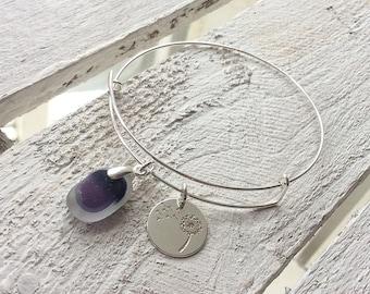 Sea Glass Bracelet,  Sterling Silver Lightweight Bangle Bracelet, Seaham Sea Glass
