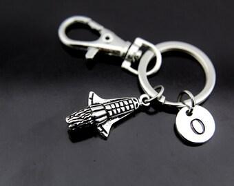 Spaceship Keychain, Rocket Ship Keychain, Rocket Charm, Silver Rocket Keychain, Traveler Gift, Travel Gift, Adventure Gift, Outdoors Gift