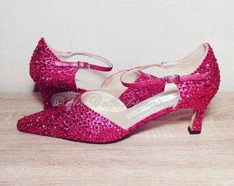 Red Crystal Shoe's, Bridal Shoes, Crystal Bridal Shoes, Crystal Wedding Shoes, Strass Wedding Shoes, Strass Bridal Shoes