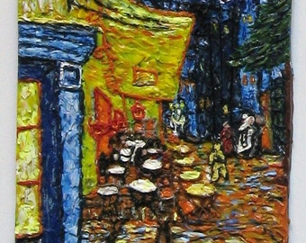 The Cafe Terrace on the Place du Forum, Atles, at Night Polymer Clay Painting
