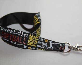 Softball Lanyard, Ribbon Lanyard, Softball, Lanyard, ID Badge and Key Holder, Break Away Lanyard, Sports Lanyard, Coach Lanyard