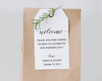 Welcome Tag Template, Wedding Welcome Bag Tag, Wedding Welcome Gift Tags, Printable Tags, Welcome Bag Tag, Favor, PDF Download #SPP007wt