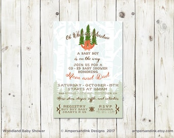 Woodland Fox Family, Baby Bear, Virtual Baby Shower, Invitation, Printable PDF, Baby Shower, Baby Sprinkle, Personalized Invitation Set