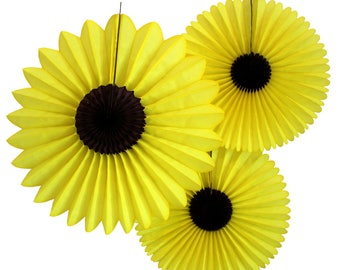 Hanging Tissue Paper Sunflower Decorations, Set of 3 (13-18 inches)