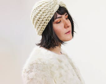 Thick Crocheted Turban Hat-  Head wrap Winter Accessory - Knit Turban Hair Accessory in Tan   The Zeta Turban  
