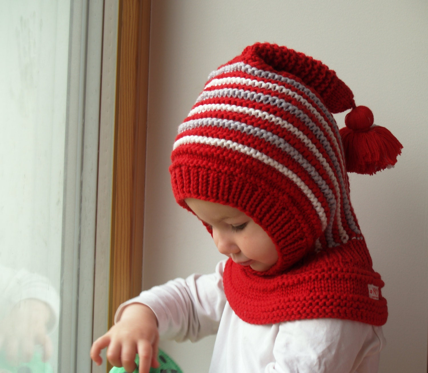 Knit Balaclava for Baby Toddler Child Hat with Pom Pom Tail