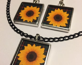 SUNFLOWER AND PLAID jewelry - glass earrings and/or necklace - designed and handmade by hobbybobbi