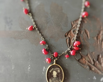 Chinese Bride Necklace with Black and White Portrait and Red Coral Dangles