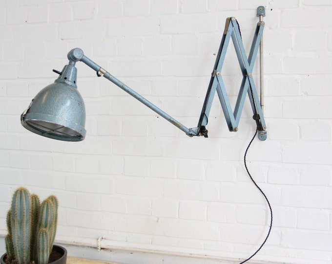 Large Industrial Scissor Lamp By Curt Fischer For Midgard Circa 1950s