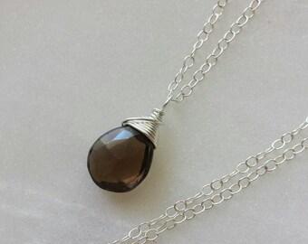 Smoky quartz pendant etsy smoky quartz necklace smoky quartz pendant necklace sterling silver necklace smoky quartz pendant aloadofball Images