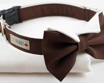 The Groom Dog Collar in Chocolate Brown