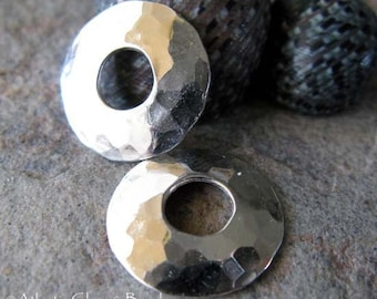 AGB sterling silver bead caps 13mm textured artisan jewelry findings large hole Flashy 2 pieces