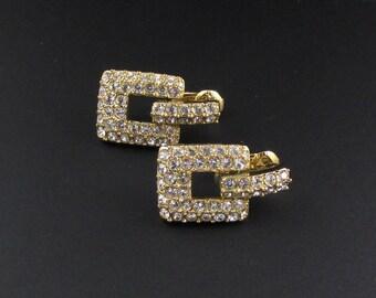Swarovski Earrings, Rhinestone Earrings, Crystal Earrings, Gold Earrings, Door Knocker Earrings
