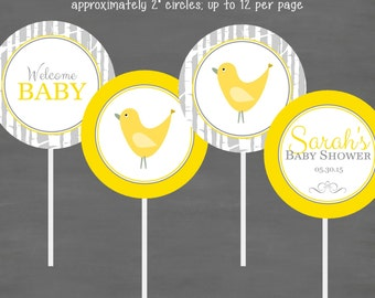 Gray Yellow Gender Neutral Bird Baby Shower Cupcake Toppers--Custom Printable; Birch Tree