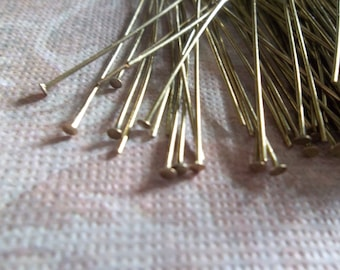 Antiqued Gold Headpins - 24 gauge - 2 inch Head Pins - Qty 180 pieces