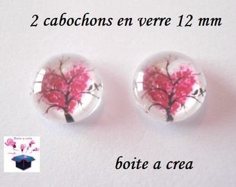 2 glass cabochon 12 mm for loop or ring tree of life