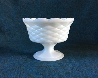 Vintage Quilted Diamond Milk Glass Pedestal Compote, Wedding Milk Glass