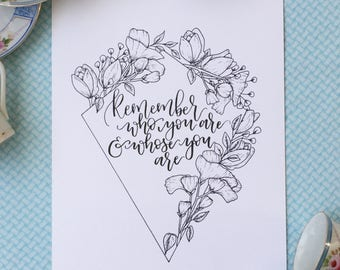 Remember Who You Are and Whose You Are Print | Tulips & Sweet Peas | Floral Design | Botanical Line Drawing | Modern Calligraphy