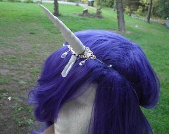 Unicorn Horn Headband, White  Silver, Floating, Halloween, Costume, Mystical, Crown, Crystal, Circlet, My LittlePony Last Unicorn Narwhal