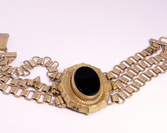 Unusual VictorianTriple Book Chain Mourning Bracelet With Oval Black Glass Stone