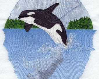 Whale Wolf Ocean Scene Marine Nautical Embroidered Patch 7.3 x 8.3